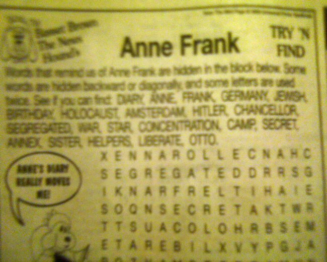 Anne Frank Wordsearch