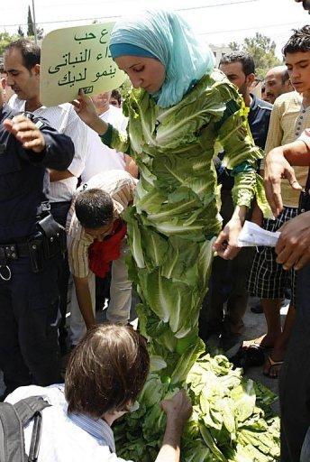 Amina Tariq is garbed in organic Muslim lettuce.