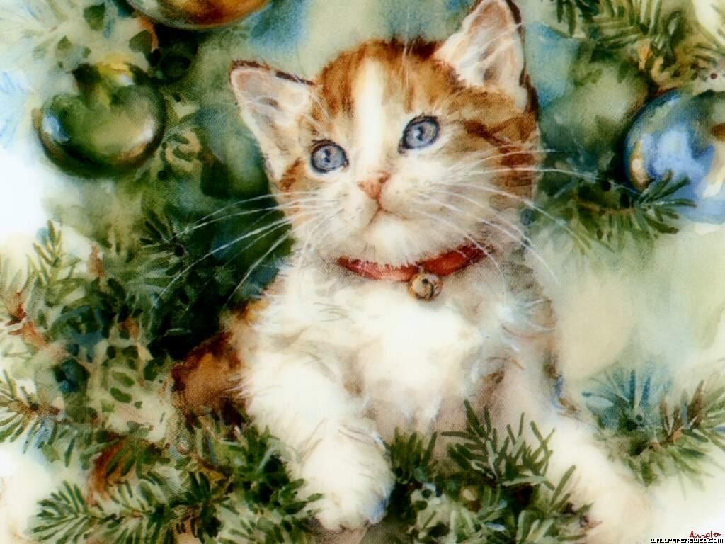 Vintage kitty christmas cards the czech cat in wreath m4hsunfo