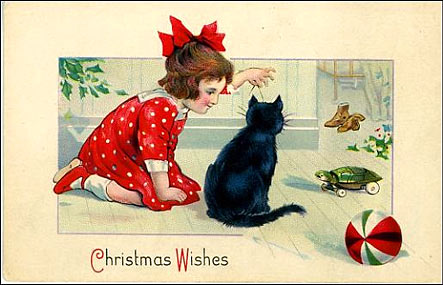Girl in Red with Cat