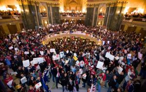 Wisconsin workers fill the capitol building.