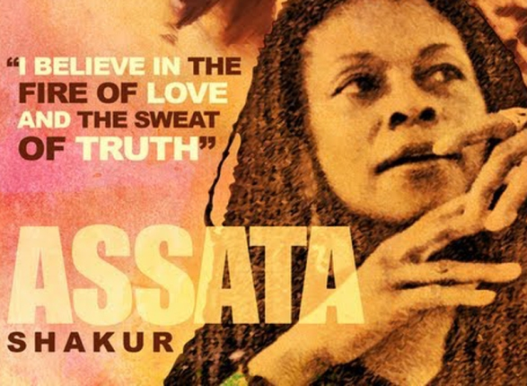 "A picture of Assata Shakur with the quote ""I believe in teh fire of love and the sweat of truth."""